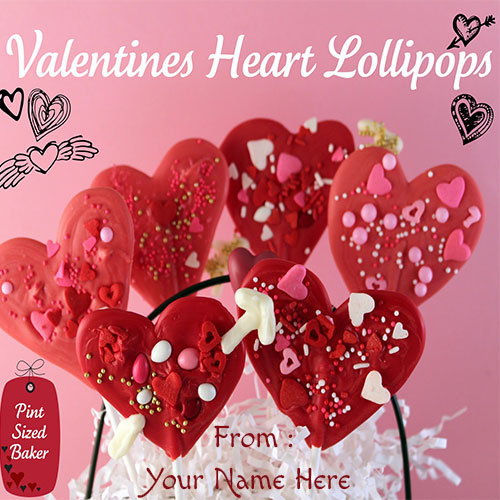 Create Valentines Heart Lollipops Pics With Custom Name
