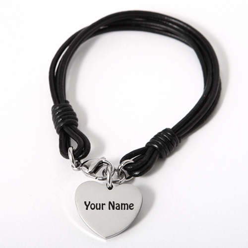 Write Name On laser Engraved Heart Leather Brace