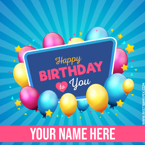 Happy Birthday Elegant Wish Card With Name