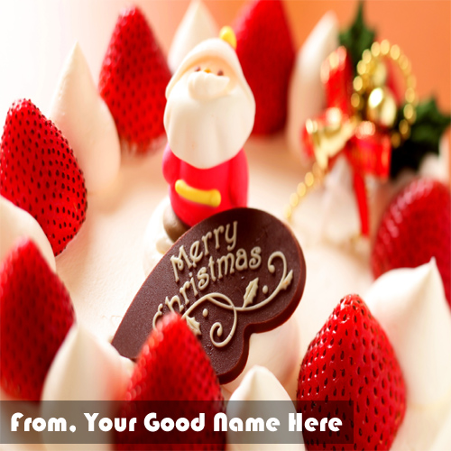 Sweet Strawberry Merry Christmas Name Cake Pictures