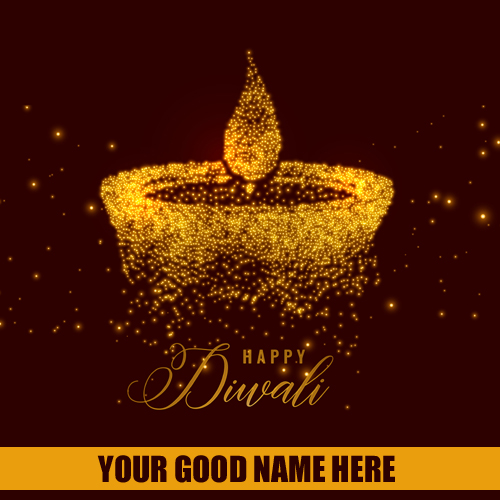 Happy Diwali Golden Particles Diya Greeting With Name