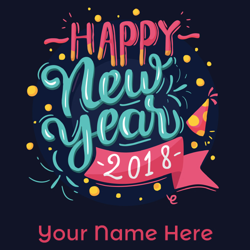 Happy New Year 2018 in Blue and Pink letters With Name