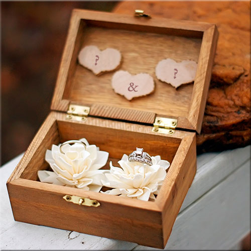 Couple Alphabets On Wedding Ring Bearer Box Pics