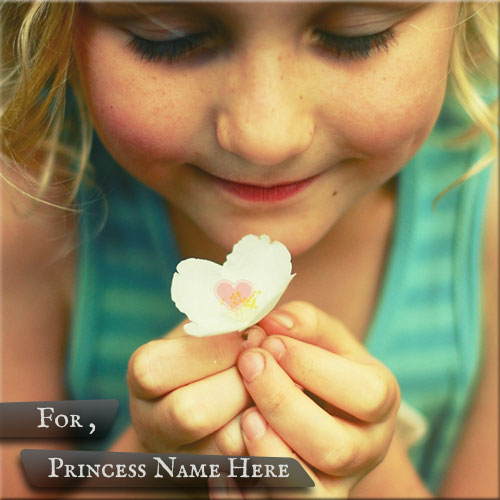 Personalize Princess Girl With Flower Name Pics