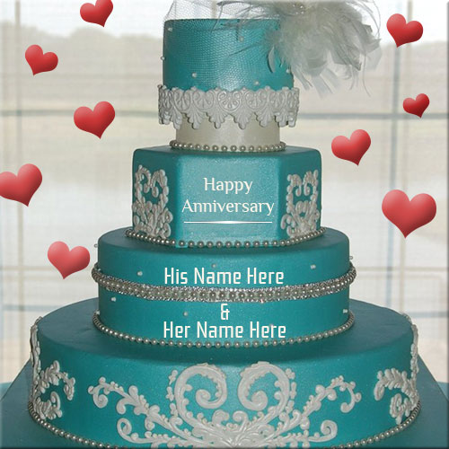 Happy Anniversary Floral Design Cake Name Pics