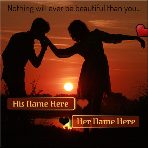 Create Your Name On Lovely Couple at Sunset Picture