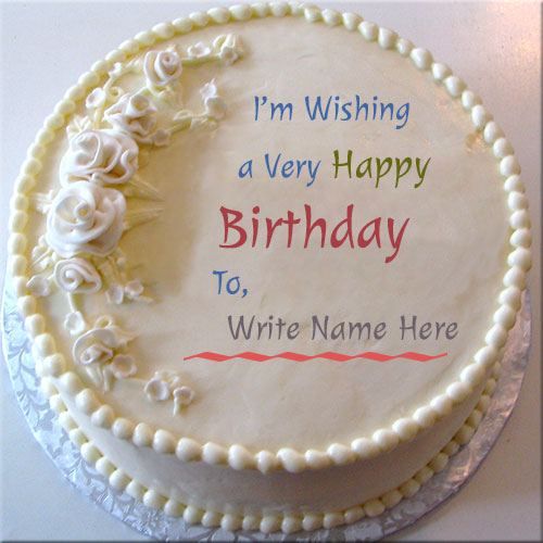 Buttercream Happy Birthday Cake With Custom Name