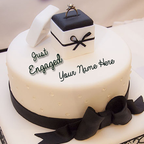 Happy Engagement Wishes Cake  With Your Name