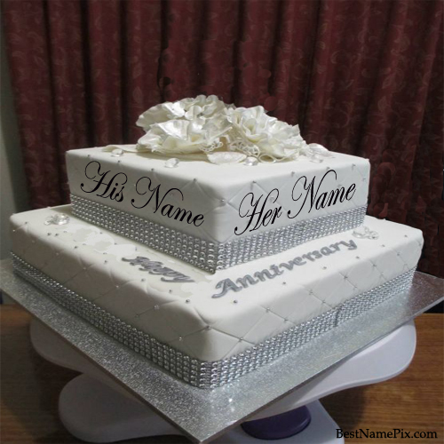 Write your name on Big  Wedding Anniversary Cake