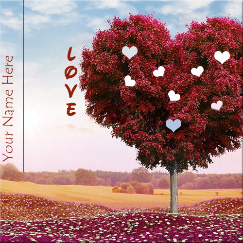 Personalized Love Heart Tree Photo With Name