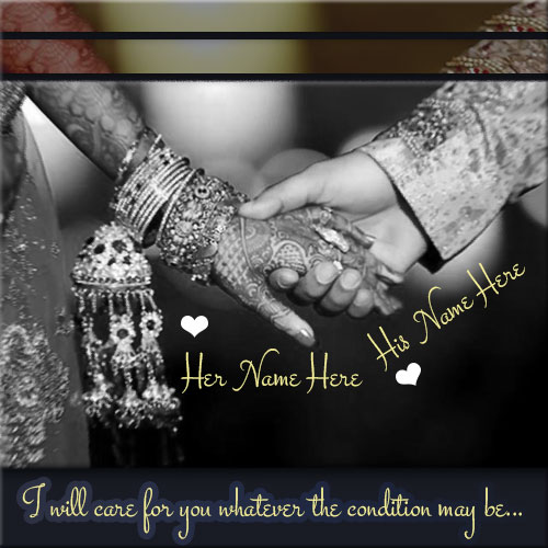 Write Name On Wedding Couple Holding Hand Picture
