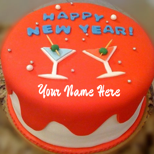Happy New Year Celebration Special Name Wishes Cake
