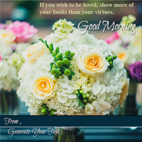 Write Name On Good Morning Pics Wih White Roses