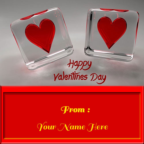 Happy Valentines Day Couple Heart Greeetings With Name