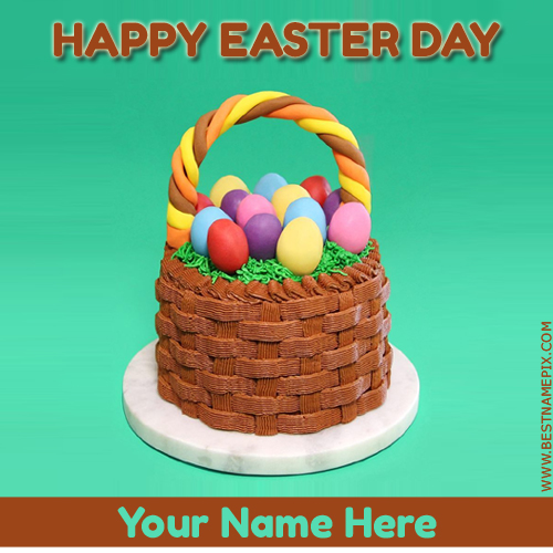 Happy Easter Day 2018 Colorful Eggs Wish Cake With Name