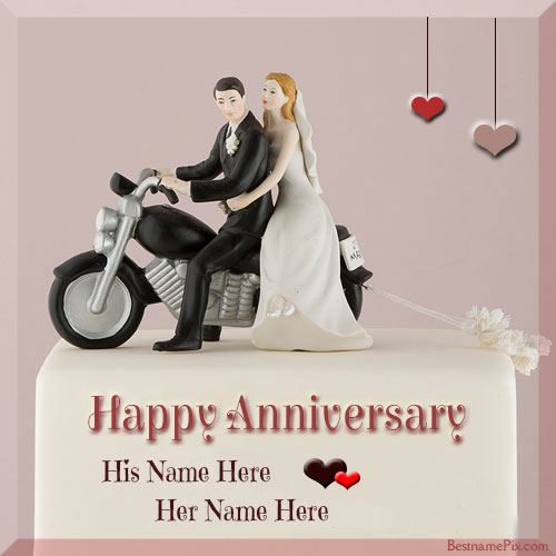 Happy Anniversary Romantic Couple Cake Name Pics