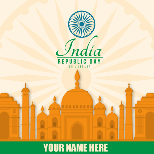 Write Name On 26 January Republic Day Wishes Card