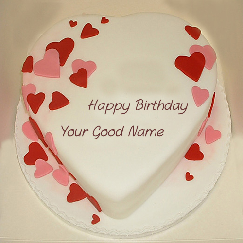 Lovely Heart Shaped Birthday Wish Name Cakes Pics