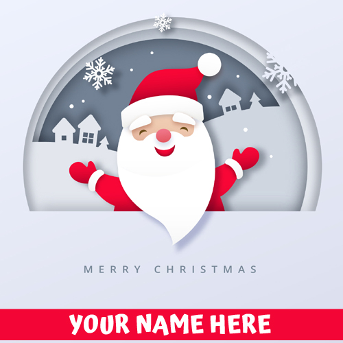 Santa Claus Merry Christmas Greetings With Your Name