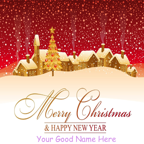 Merry Christmas With New Year Wishes Awesome Name Pix