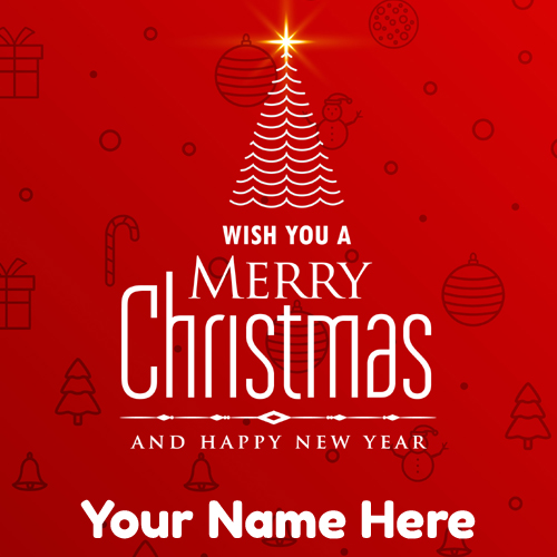 Merry Christmas Wishes Name Greeting With Elegant Tree
