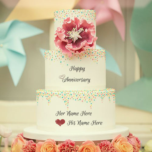 Write Name On  Happy Anniversary Cake With Flowers