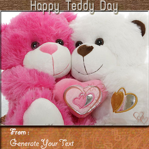 Online Print Your Name On Happy Teddy Day Wishes Pics