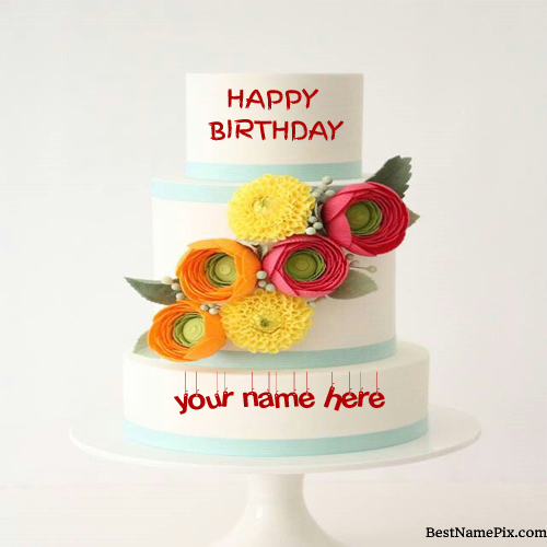 Write Your Name On Big Flower Birthday Cake Picture Onl