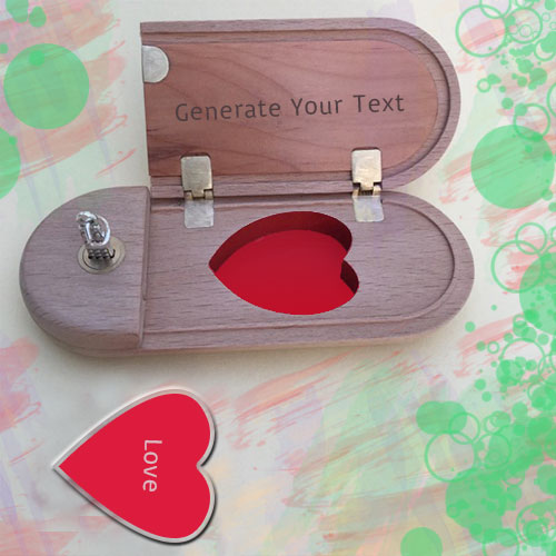 Red Love Heart Wooden Box Pics With Name