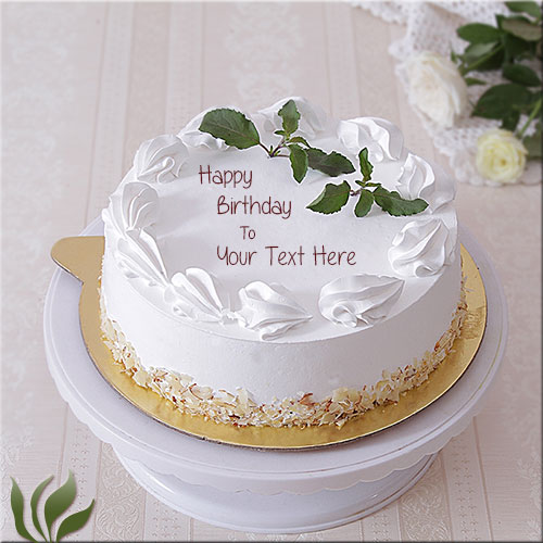 Print Your Name On Happy Birthday White Creamy Cake
