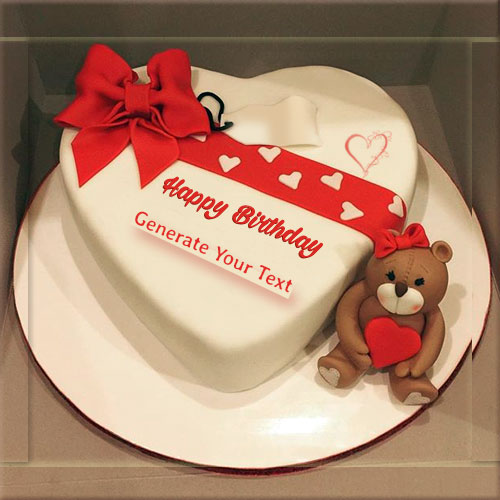 Print Name On Birthday Wish Heart Shape Cake With Teddy