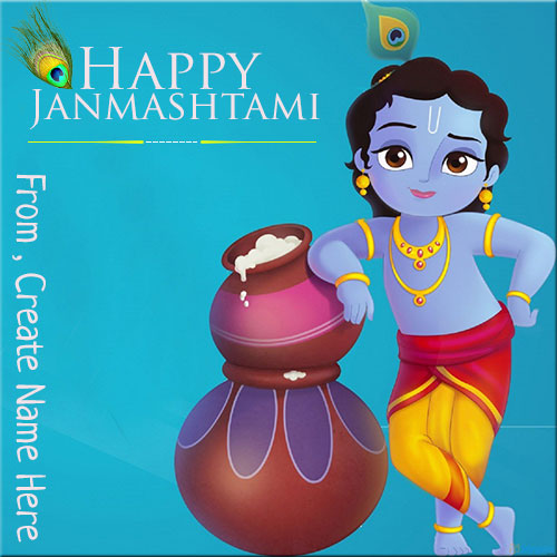 Happy Janmashtami Festival Greeting Pics With Name
