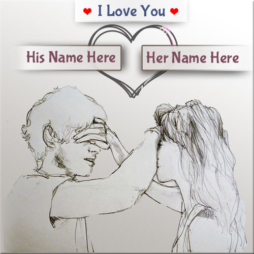 Boy And Girl Love Art Picture With Custom Name