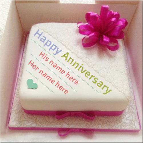 Beautiful Happy Anniversary Cake With Couple Name