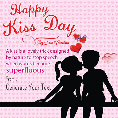 Create Happy Kiss Day Beautiful Quote Name Pics