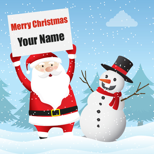Santa Claus Snowman Merry Christmas Wishes Pic With Nam