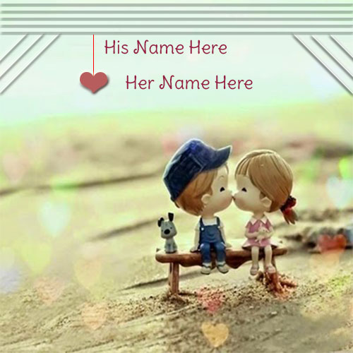 Print Name On Cute Couple Kissing Name Picture