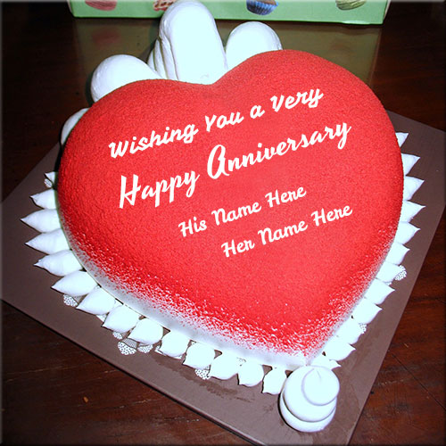 Happy Anniversary Red Heart Shape Cake With Couple Name