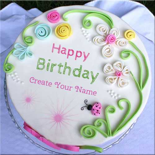 Birthday Images With Flowers And Cake With Names : Write Your Name On Happy Birthday Flower Cake