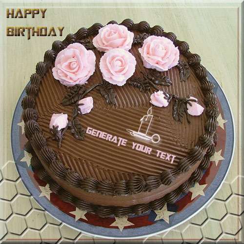 Write Your Name On Happy Birthday Rose Cake Pics