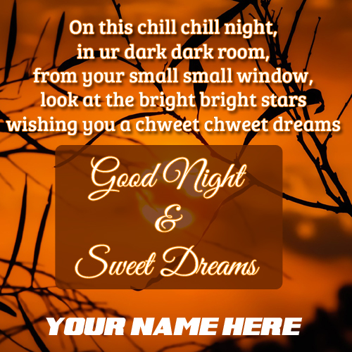 Good Night Quote Greeting With Your Name