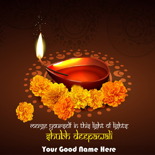 Diwali Festival Greeting Candles Card Wishes Name Pics