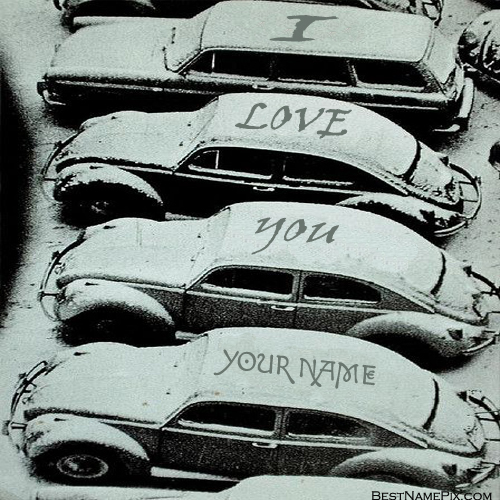 Write Your Name On Snow Love Car Picture