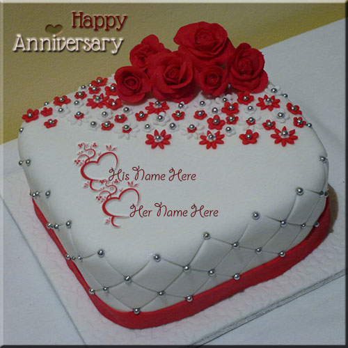 Create Happy Anniversary Rose Cake Name Pics