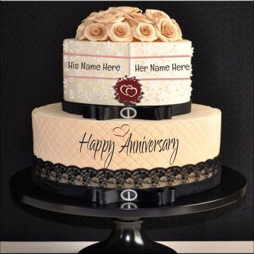 Black Lace Vintage Cake For Happy Anniversary With Name
