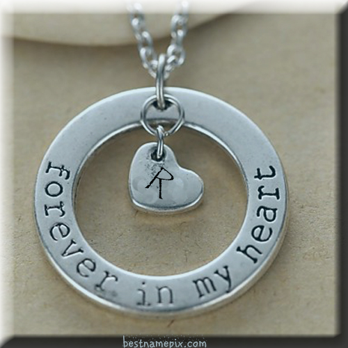 WRITE YOUR NAME ALPHABET ON HEART SHAPE SILVER PENDANT