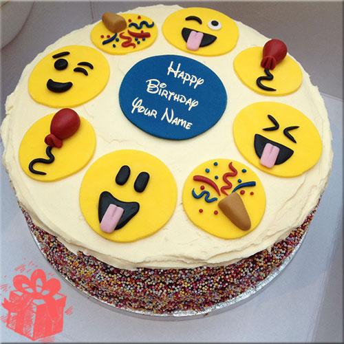 Smiley Birthday Cake With Name
