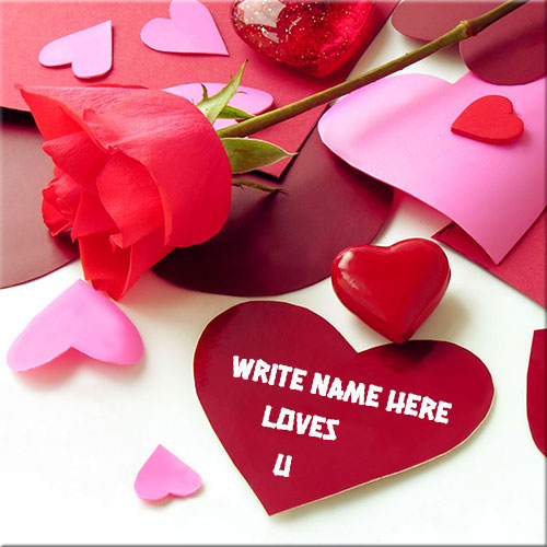 Write Custom Name On Love You Red Heart Picture
