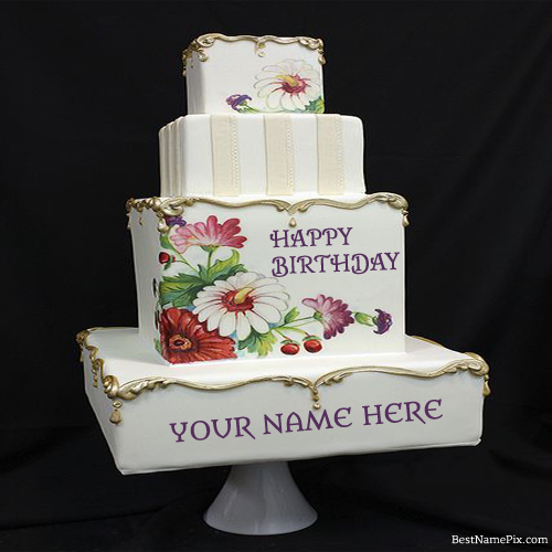Write Your Name On Big Flower Birthday Cake Picture