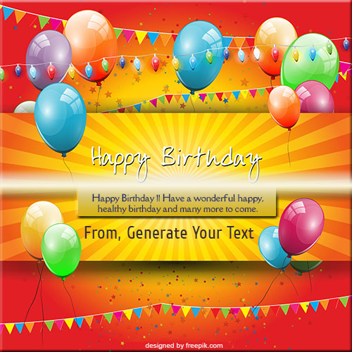 Happy Birthday Colorful Balloons Card Name Pics